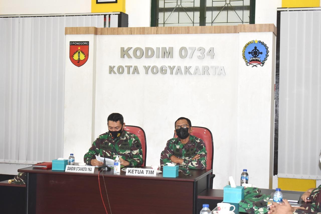 Kodim Kota Yogyakarta Terima Kunjungan Tim Wasgiat Sisfo TNI AD